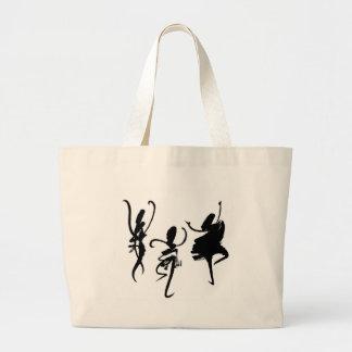 Bailarines abstractos - letras chinas de baile bolsa tela grande