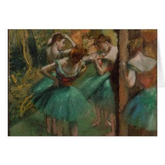 Bailarines de Edgar Degas rosados y tarjeta de