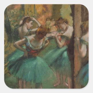 Bailarines de las ilustraciones del ballet rosados pegatina cuadrada