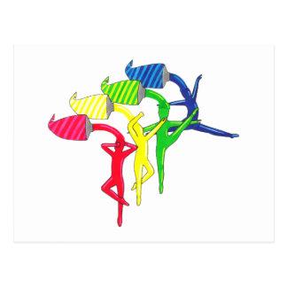 Bailarines del arco iris postal