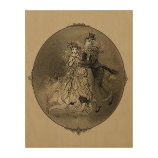 Bailarines del cefalópodo impresión en madera