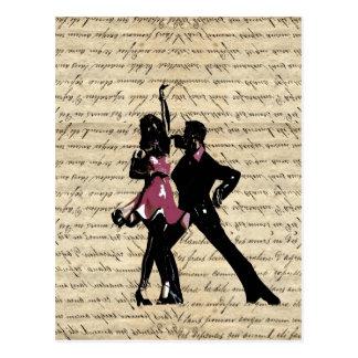 Bailarines del salón de baile en el papel del vint