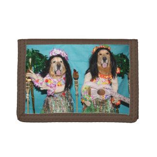 Bailarines hawaianos de Hula del golden retriever