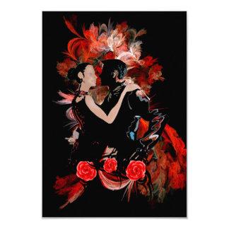 Bailarines románticos del tango en fractal rojo invitación 8,9 x 12,7 cm