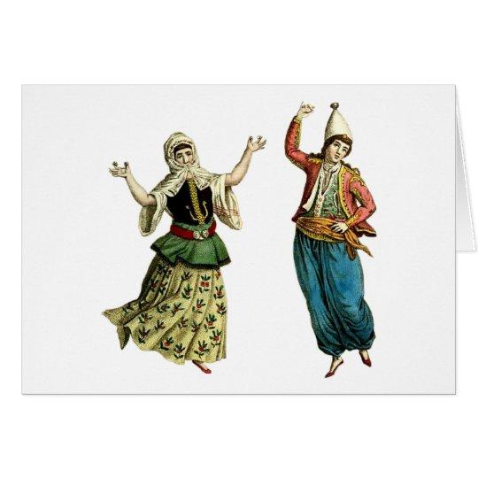 Bailarines tradicionales tarjeta de felicitación