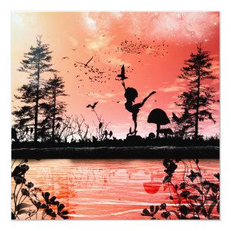 Baile con los pájaros invitación 13,3 cm x 13,3cm