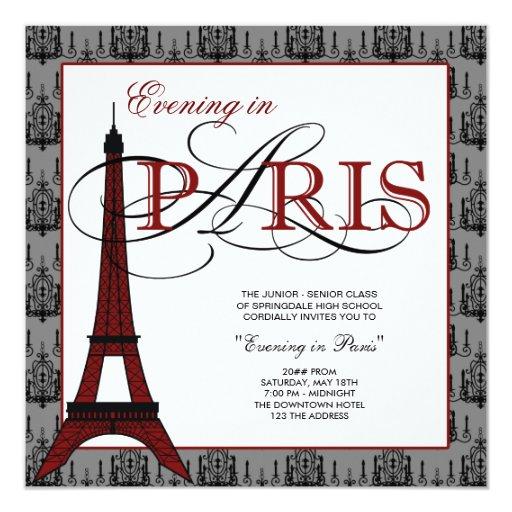 Baile de fin de curso elegante de París de la Invitación 13,3 Cm X 13,3cm