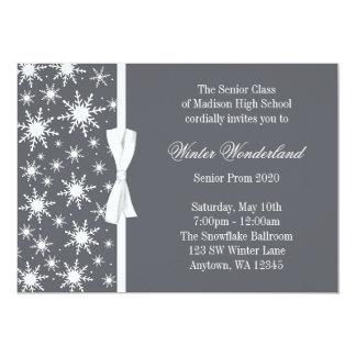 Baile de fin de curso gris del arco de los copos invitación 12,7 x 17,8 cm