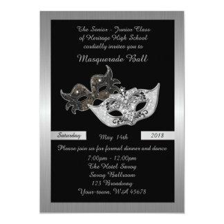Baile de fin de curso Mayor-Menor, negro, máscara Invitación 12,7 X 17,8 Cm