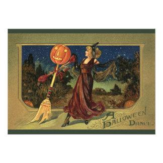 Baile de la bruja de Halloween del vintage con una