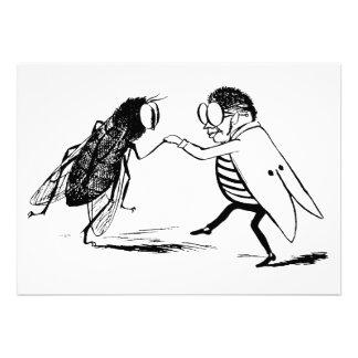 Baile de los insectos del vintage; Mosca del Blueb Invitaciones Personalizada