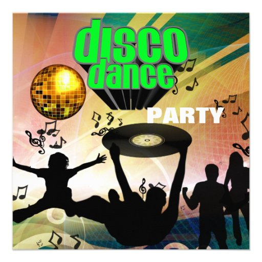 Baile del disco de la invitación retro