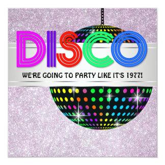 Baile del disco invitación 13,3 cm x 13,3cm