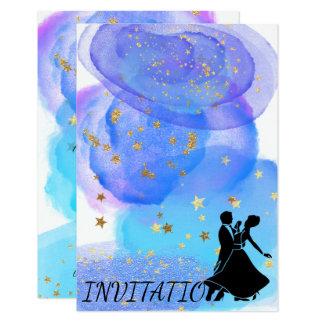 Baile estrellado del cielo nocturno azul del invitación 8,9 x 12,7 cm