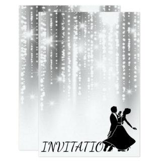 Baile estrellado del cielo nocturno gris negro invitación 8,9 x 12,7 cm