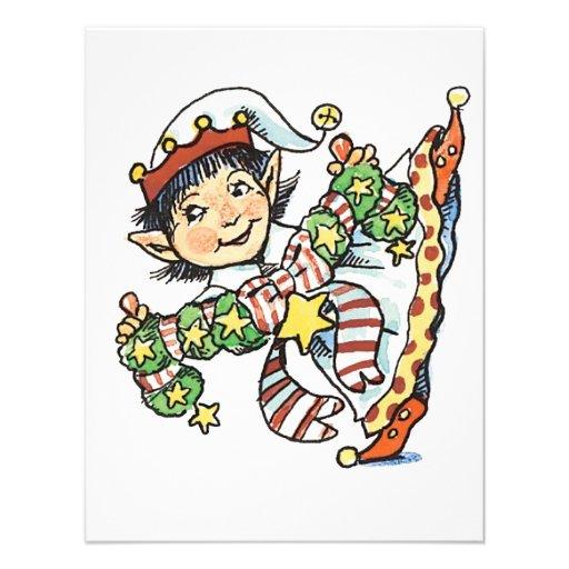 Baile feliz del duende del dibujo animado retro de invitaciones personalizada