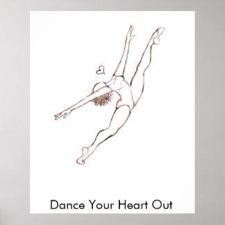 Baile su corazón hacia fuera póster