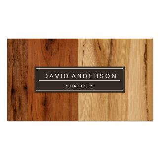 Bajista - mirada de madera del grano tarjetas de visita