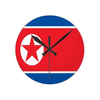 ¡Bajo costo! Bandera de Corea del Norte Reloj Redondo Mediano