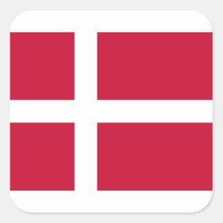 ¡Bajo costo! Bandera de Dinamarca Pegatina Cuadrada