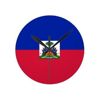 ¡Bajo costo! Bandera de Haití Reloj Redondo Mediano