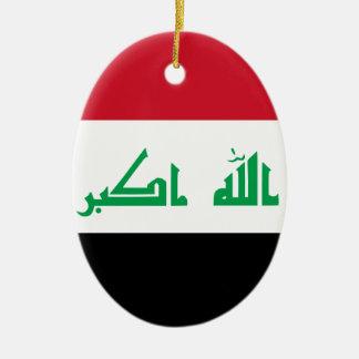 ¡Bajo costo! Bandera de Iraq Adorno Navideño Ovalado De Cerámica
