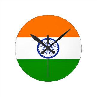 ¡Bajo costo! Bandera de la India Reloj Redondo Mediano