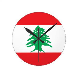 ¡Bajo costo! Bandera de Líbano Reloj Redondo Mediano