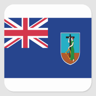 ¡Bajo costo! Bandera de Montserrat Pegatina Cuadrada