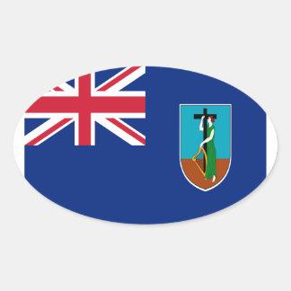 ¡Bajo costo! Bandera de Montserrat Pegatina Ovalada