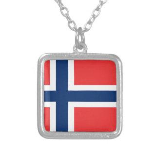 ¡Bajo costo! Bandera de Noruega Collar Plateado