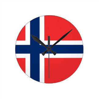 ¡Bajo costo! Bandera de Noruega Reloj Redondo Mediano