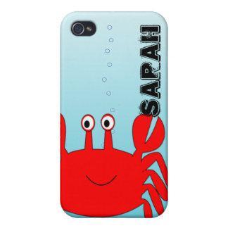 Bajo cubierta feliz del iPhone del cangrejo del iPhone 4 Cárcasas