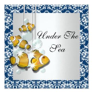 Bajo fiesta del tema del mar invitación 13,3 cm x 13,3cm