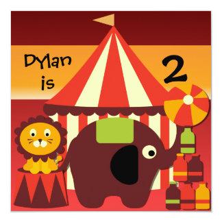 Bajo invitaciones del circo del top grande invitación 13,3 cm x 13,3cm