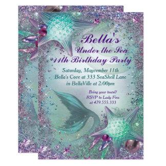 Tarjeta Bajo invitaciones del fiesta de la sirena del mar
