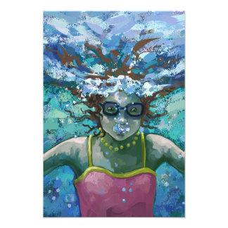 Bajo nadada del agua impresiones fotográficas