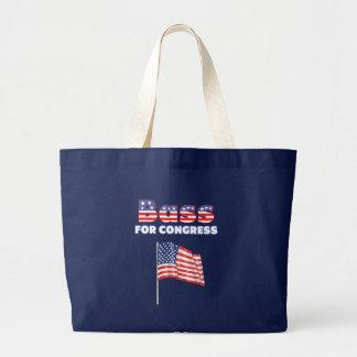 Bajo para el diseño patriótico de la bandera ameri bolsa tela grande