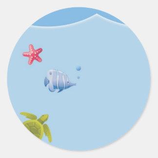 Bajo pegatinas redondos del sobre del mar pegatina redonda