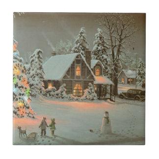 Baldosa cerámica de la escena del navidad del país