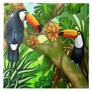 Baldosa cerámica de la selva tropical de Toucan