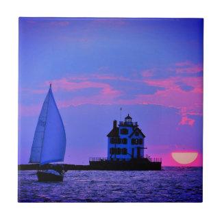 Baldosa cerámica de la vela de la puesta del sol