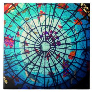 Baldosa cerámica de la vida del océano del vitral