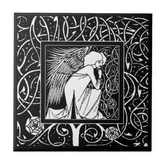 Baldosa cerámica del ángel de Beardsley del