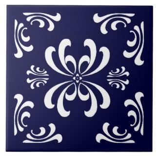 Baldosa cerámica del Flourish azul marino y blanco