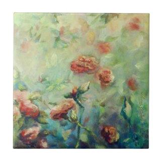 Baldosa cerámica pintada de los rosas