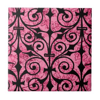 Baldosa cerámica rosada de la flor de lis teja