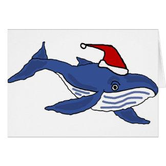 Ballena azul divertida en arte del navidad del tarjeta de felicitación