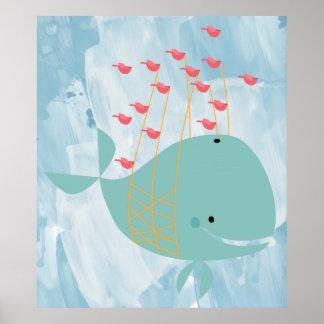 Póster infantil de la ballena bolando