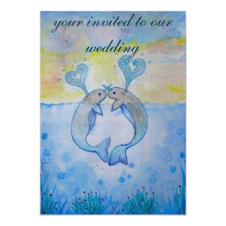 ballena del amor del mar de la invitación del boda